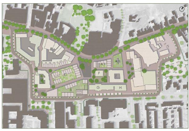 Centrumplan Best openbaar gebied groenstructuur verkeersroute