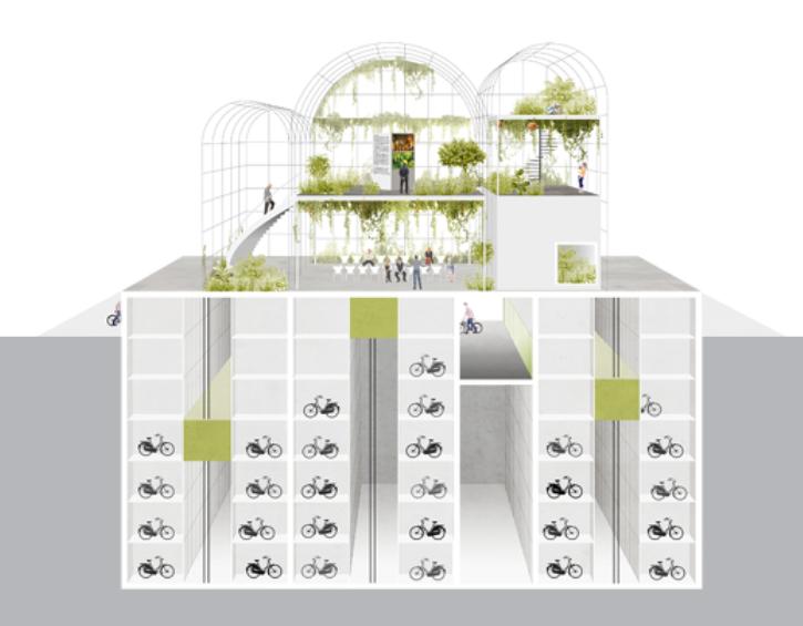 Rijkskas met ondergrondse fietsenstalling urban farming Amsterdam Feetzdock